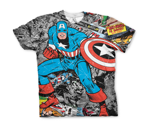 Koszulka męska Captain America Comic Allover T-Shirt